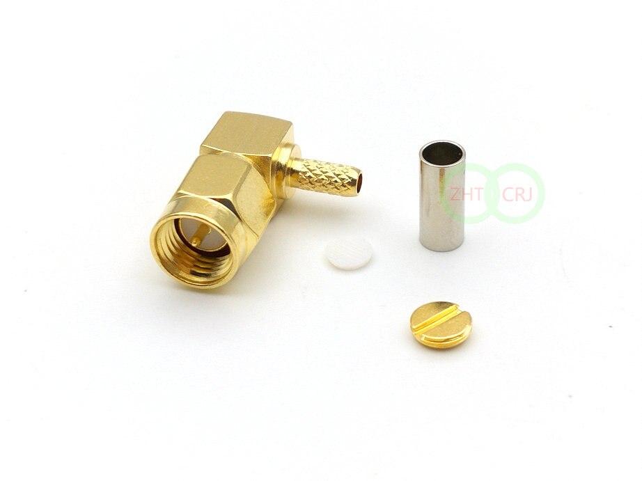 100pcs SMA male plug right angle crimp RG174 RG316 LMR100 RF connector