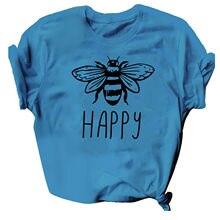 Camisetas con diseño de abeja para Mujer, Blusas con estampado de letras y cuello redondo, Blusas de Manga Corta para verano