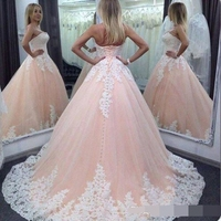 Vintage Ball Gown Quinceanera Dresses Sweetheart Pink White Lace Appliques Tulle Long Sweet 16 Party Cheap Plus Size Prom dress
