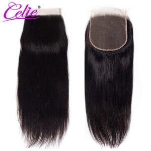 Image 5 - Celie 6x6 koronki zamknięcie proste włosy ludzkie zamknięcie z Baby włosy darmo/średnim/trzy część włosy brazylijskie remy koronki Top zamknięcie