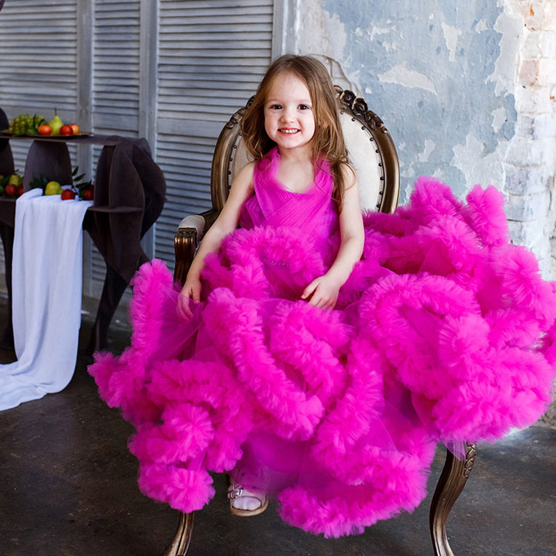 Gorgeous Cloud Flower Girls Dresses For Weddings Little Girl Party Frocks Dress Prom Evening Birthday Dresses