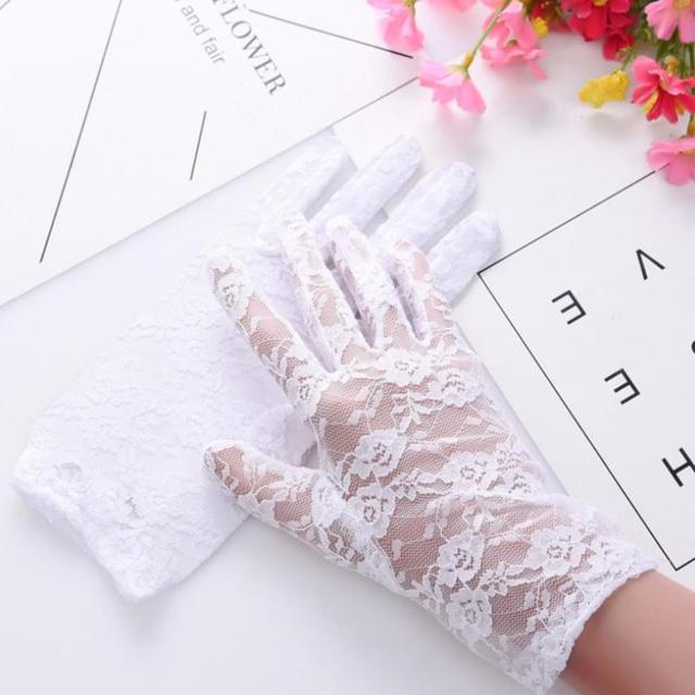 Fashion Women Lady Lace Party Sexy Dressy Gloves Summer Full Finger Sunscreen Gloves for Girls Mittens 2PCS 1