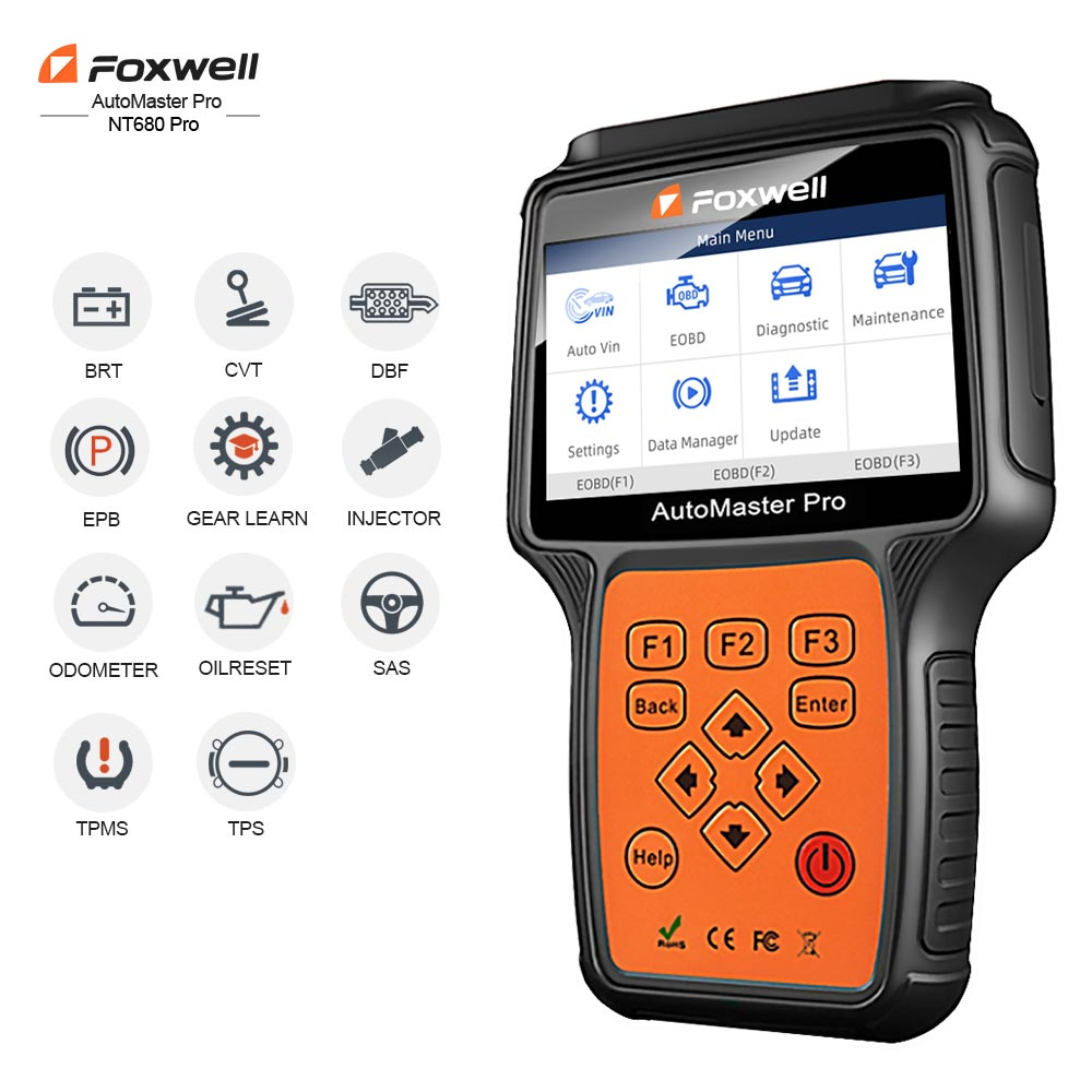 Foxwell NT680 Pro All Systems Diagnostic Scanner With Oil Light/Service Reset+EPB Functions Updated Version Of NT624 Full System