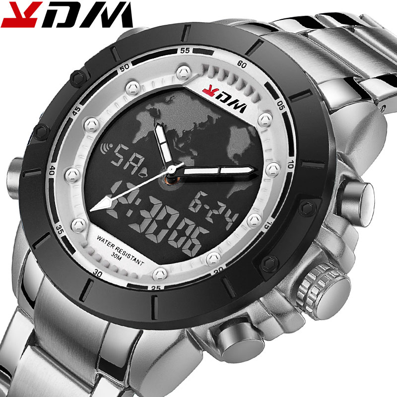 KDM Top Brand Mens Watches Luxury Global Map Decoration Steel Band Zegarek Meski Quartz Digital Sport Male Watch Reloj Hombre