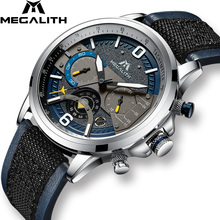 MEGALITH Top Luxury Men Watches Waterproof Sport Leather Quartz Watch Chronograph Wrist Watch Clock Man Relogio Masculino  8083 цена
