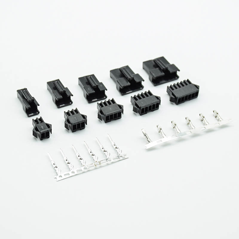 10sets/lot <font><b>connectors</b></font> SM2/3/4/5/6Pins Pitch <font><b>2.54MM</b></font> <font><b>Female</b></font> and Male Housing + terminals SM-2P SM-2R JST SM2.54mm black image