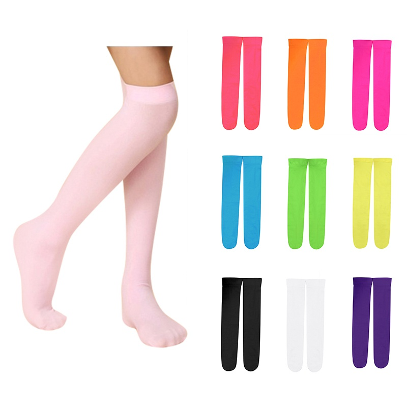10 Colors Kids Girls Socks Candy Color Baby Knee High Long Socks Girl Children Accessories For 3-12Y Girl