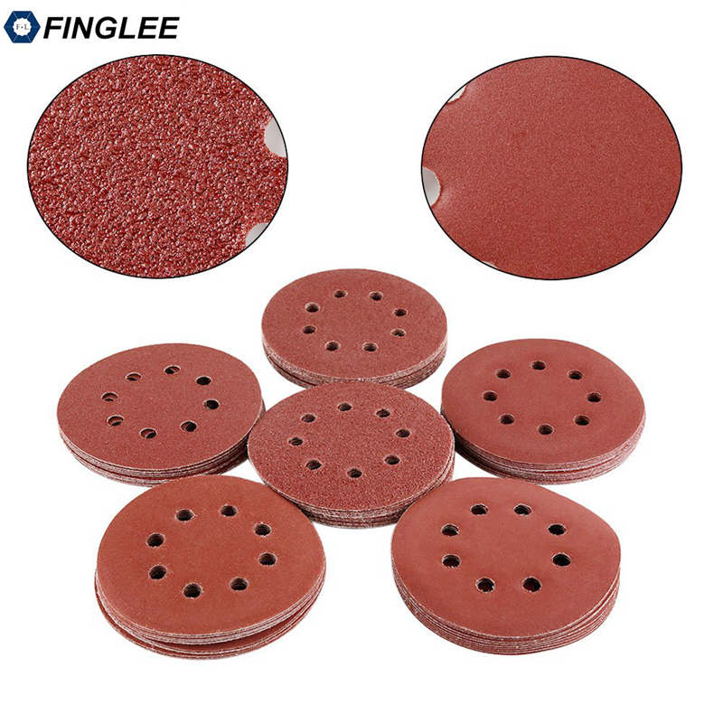 10pcs 5inch 125mm Aluminium Oxide Sanding Paper With 8 Hole Loop Backing,Sander Disc For Angle Grinder Polishing Work