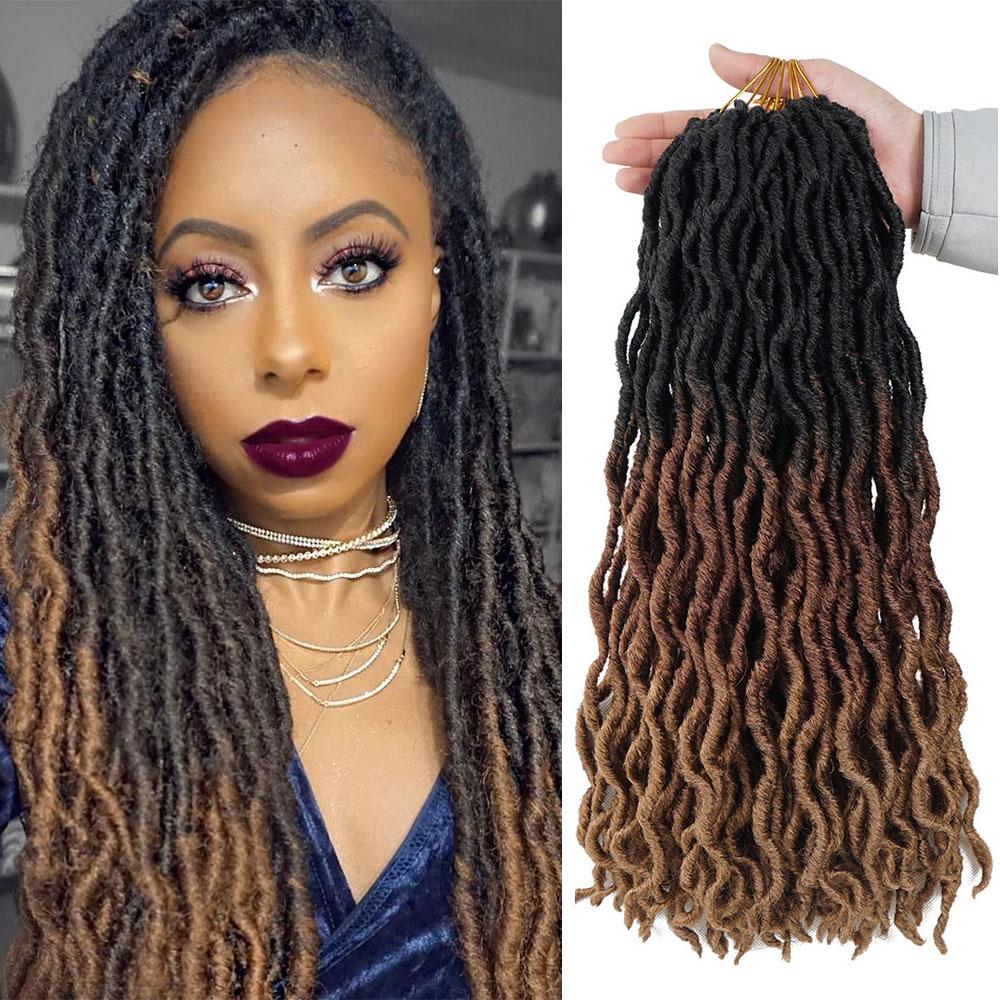 Goddess Locs Crochet Hair Extensions 20inch Long Soft Ombre Faux Locs Braids Dreadlocks Synthetic Hair Extensions