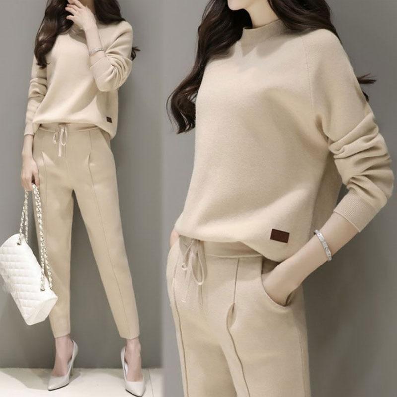 Women's Two-piece Knit Top + Nine Pants Elegant Suit Winter Autumn Suit New Women's Spring Harem Pants Fashion Tide Loose
