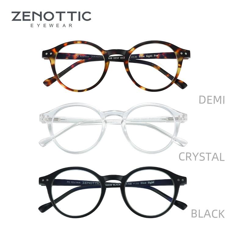 ZENOTTIC occhiali da lettura con montatura rotonda per uomo donna Computer occhiali da vista Hyperopia occhiali da lettura Anti luce blu occhiali 2