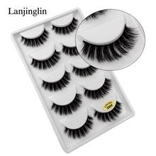 Lanjinglin 50 caixas/lote natural longo vison cílios falso cils volume macio 3d cílios feitos à mão cílios postiços atacado g6