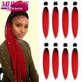 Mirra's Mirror 8pcs Pre Stretched Braiding Hair Professional Itch Free Synthetic Fiber Braids Yaki Texture Hair