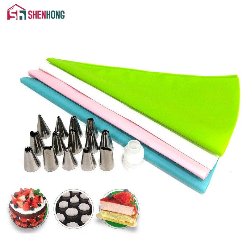 Shinhong 16 unids/set boquillas glaseado de repostería Punta de tubo bolsa convertidor confitería inoxidable Crema para hornear decoración raspador de torta| |   - AliExpress
