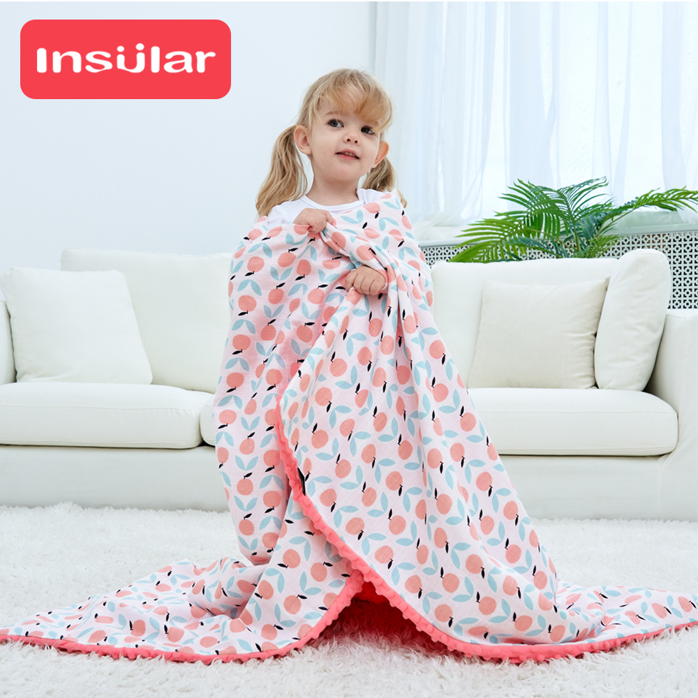 4 Layers Muslin Cotton Baby Blanket Soft Breathable Embossed Bubbles Design Newborn Swaddles Sleeping Mat 80x100cm