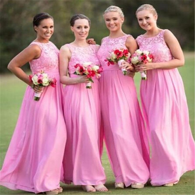 SINGLE ELEMENT Lace Chiffon Pink Elegant 2020 Custom Made Long Scoop Bridesmaid Dresses Wedding Party Gown