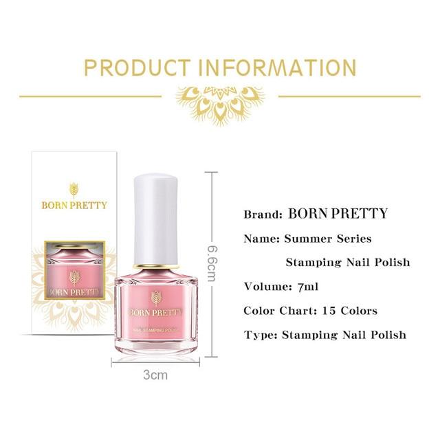 BORN PRETTY-esmalte de uñas estampado, 15 colores, Serie de verano, placa de Estilo Dulce, barniz de uñas, caramelo 5