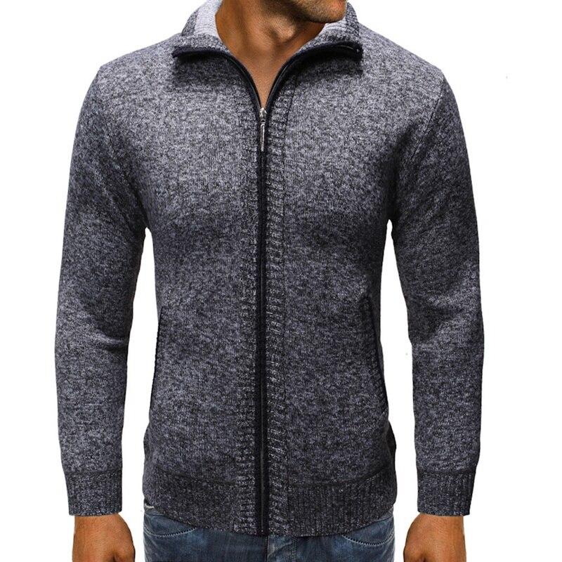 MJARTORIA New Mens Fleece Sweate Autumn Winter Warm Cashmere Dress Slim Fat Wool Zipper Casual Sweater Men Knitted Coat