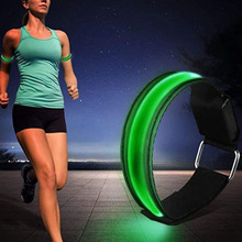 LED Flashing Wristbands Adjustable Running Light Sports Glowing Bracelets for Runners Joggers Cyclists Riding Safety Bike 2pcs