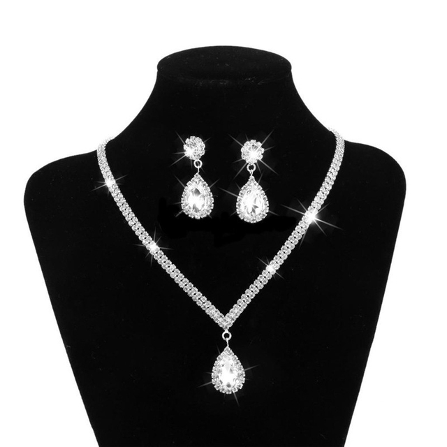 Gota de água strass longo pingente de cristal cheio banhado a prata colar & brincos elegante conjunto de jóias de casamento nupcial