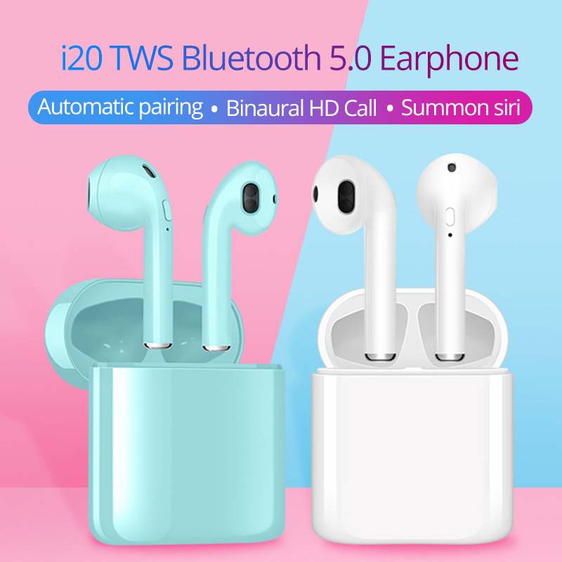earphones bluetooth wireless headsets 5.0 in ear earbuds with earphones with microphone pk i100 <font><b>i19</b></font> i12 i200 i1000 for phones image