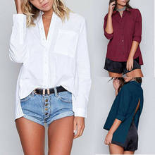 Women Casual Plain Shirts Fashion Loose Basic Blouse Long Sleeve Back Slit Shirts Office Lady Solid Backless Shirts Tops(China)