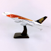 18CM 1:400 Airbus A380 model Singapore Airways airplane alloy static solide with base Diecast plastic Plane ToyGift collectible