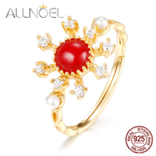 ALLNOEL 925 Sterling Silver Ring Red Coral 5A Zircon Diamond Gemstone Gold Plated Ladies Ring Wedding Bride Ring Boutique Design