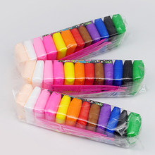 QWZ lekka glina sucha polimerowa plastelina modelarska glina Super lekka DIY miękka kreatywna Handgum glina edukacyjna zabawki 12 kolorów