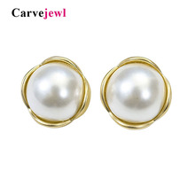 Carvejewl simulated pearl stud earrings simple round big for women jewelry girl gift romantic new fashion Russian