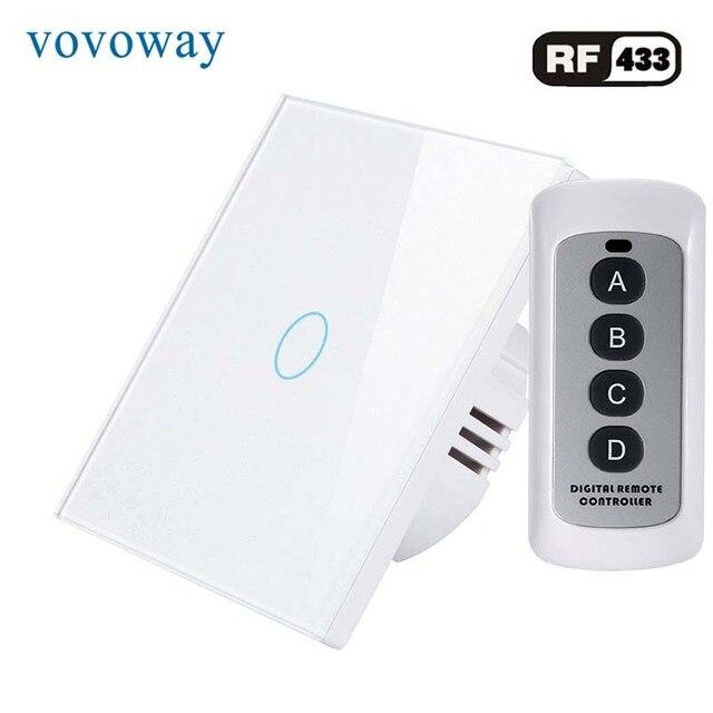Vovoway EU touch schalter licht schalter RF Wireless fernbedienung 1s 2s 3Gang AC110V 220V Wand post touch installation