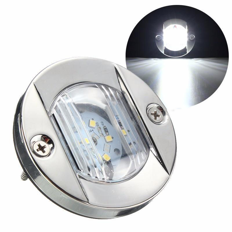 1PC LED Marine Boat Light Transom Stainless Steel Anchor Stern Light White Round 12V Boat Parts Marine Hardware