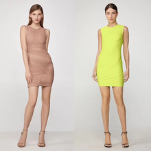 Women Pleated Bandage Dress 3 Colors Mini Casual Sheath Sleeveless High Quality Rayon Fabric Unique Design vestidos