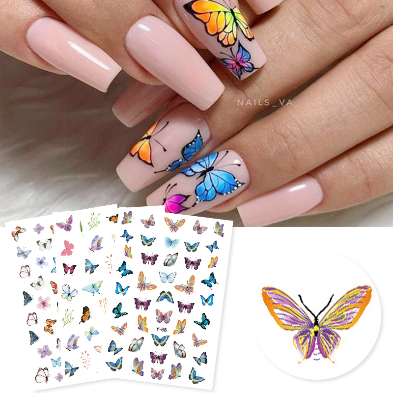 3D Nail Sticker Colorful Butterfly Design Transfer Nail Sticker Paper Beautiful Nail Decals Decoration Nail Art Accessories DIY