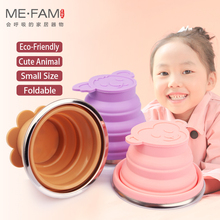 ME.FAM New Cute Cartoon Animal Stainless Steel Silicone Folding Cup With PE Cover Lid Outdoor Collapsible Travel Child Water