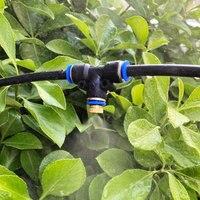 분무 트램 폴린 시스템 실외 정원 냉각 스프레이 세트 2 포인트 퀵 플러그 노즐-검정색 6 미터 6 헤드