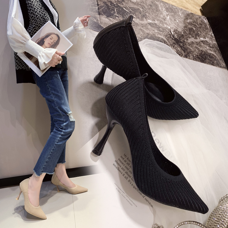 2020 New Korean Wild Black Shallow Mouth Pointed High Heels Fashion Casual Knitted Breathable Comfortable Women's Work Shoes