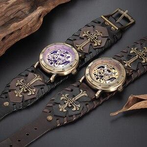 Image 4 - רטרו ברונזה שלד אוטומטי מכאני שעון גברים גותי Steampunk עצמי מתפתל שעוני יד ייחודי עור שעונים Reloj Hombre
