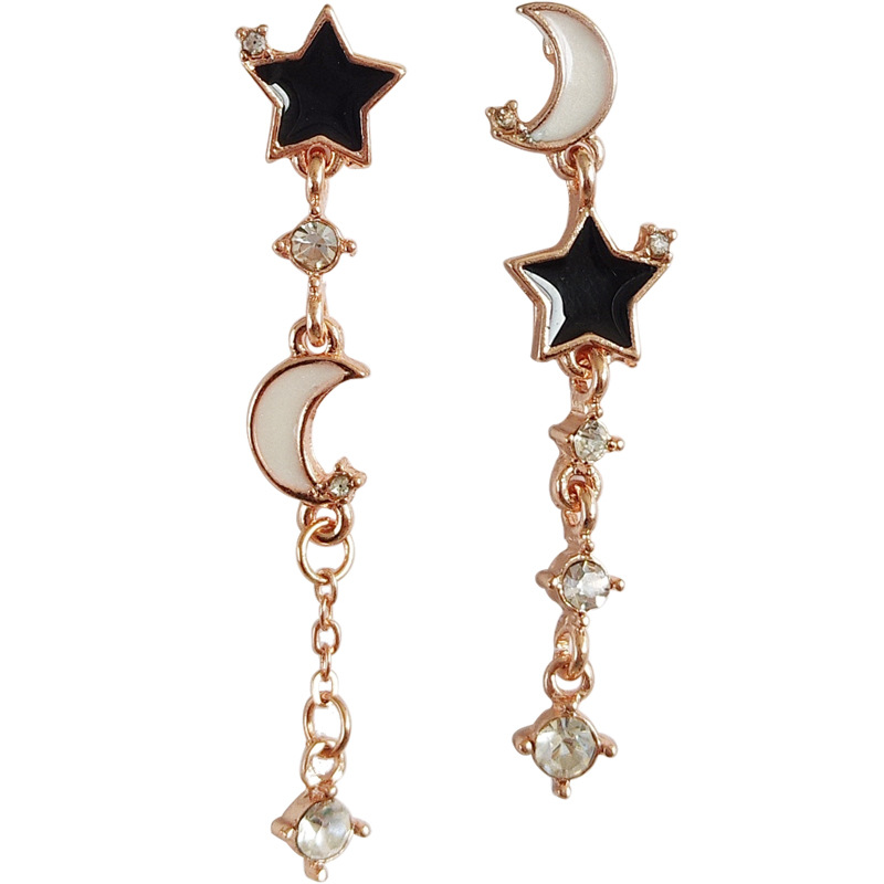 New Asymmetrical Star Moon Earrings Women Fashion Korean Temperament Enamel Crystl Cute  Jewelry