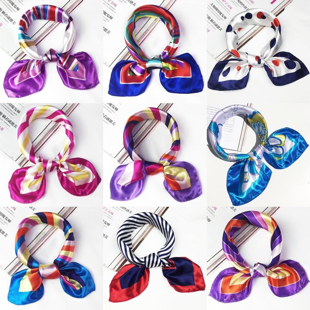 La MaxPa 50*50cm Silk Scarf Women Small Soft Squares Decorative Head Scarf Multicolor Stripe Print Kerchief Neck Wrap K2332