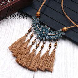 New Vintage Long Leather Rope Chain Boho Tassel Pendant Necklace Choker Women Sweater Chain Clothing Accessories Wholesale Sales