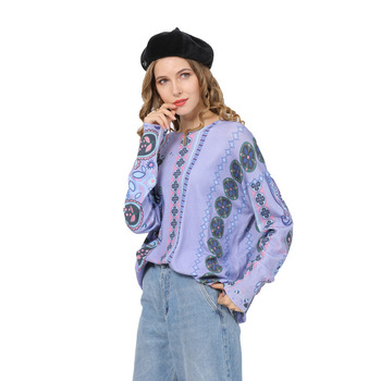2019 Printing Knitwear Pullover Round Collar Sweater Women Long Sleeve Fashion Knit Solid Womans Cardigan