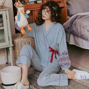 Image 5 - Conjuntos de pijamas femininos listrados, pijamas japoneses estampadas plus size 3xl 100% algodão