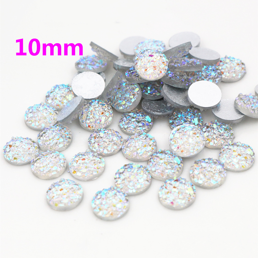 New Fashion 10mm 40pcs Transparent AB Colors Natural Ore Style Flat Back Resin Cabochons For Bracelet Earrings Accessories-O2-05