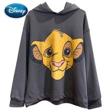 Camiseta con estampado del rey león de la jungla para mujer, Top holgado informal de manga larga con estampado de dibujos animados de Disney