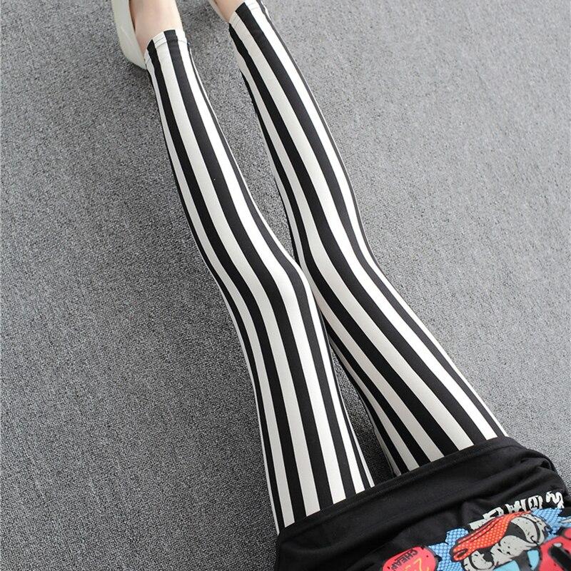 Fitness Legging Striped Printing Pants Elastic High Waist Breathable Polyester Women Legging Stretchy Workout Leggins