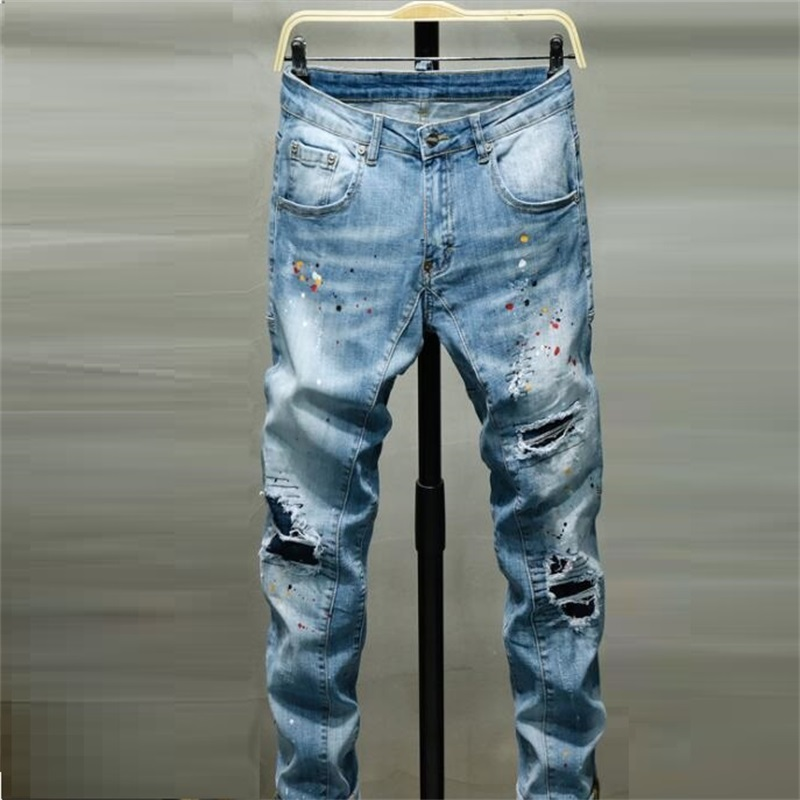 New Men Jeans 100% Cotton Classic Slim Fit Jeans Ripped Jeans For Men Fashion Men Jeans Free Shipping #D16