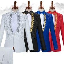 Chaqueta de traje de boda con estampado delgado de otoño para hombre, chaqueta Formal negra de alta calidad para hombre