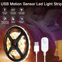 防水モーションセンサー付きLEDランプ,USB電源,フレキシブル,5V,ワードローブ照明,寝室に最適