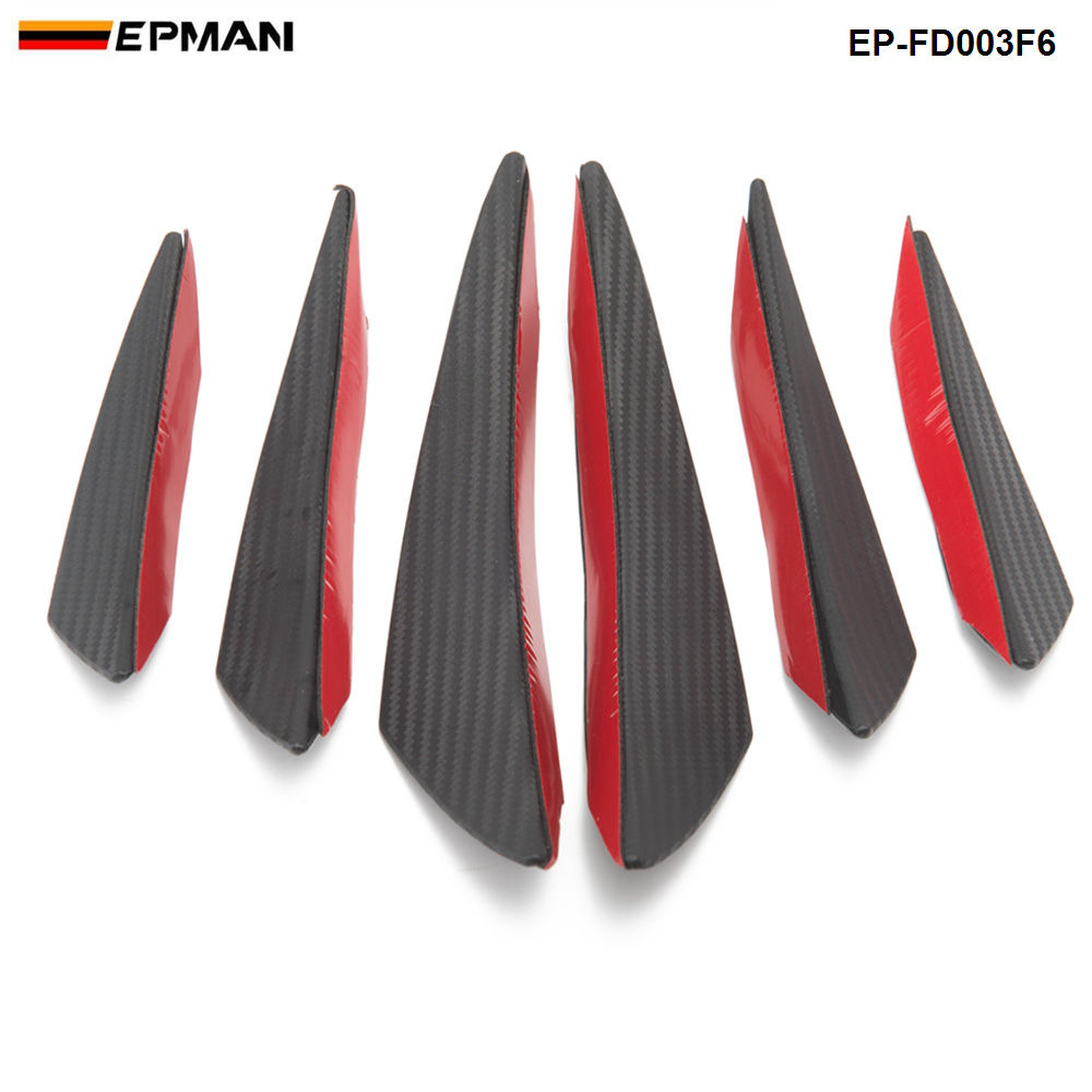 EPMAN 6pcs/lot Car Carbon Fiber Front Bumper Splitter Fins Body Spoiler Canards Valance Chin EP-FD003F6